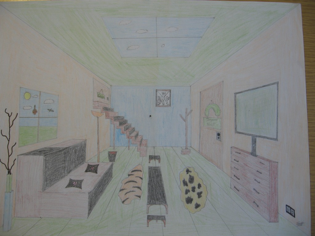 Beautiful Chambre En Perspective Dessin Images - Matkin.info ...